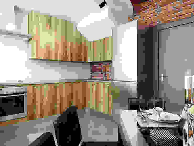 Ломанная квартира в стиле лофт Кухня в стиле лофт от Дизайн студия Александра Скирды ВЕРСАЛЬПРОЕКТ Лофт