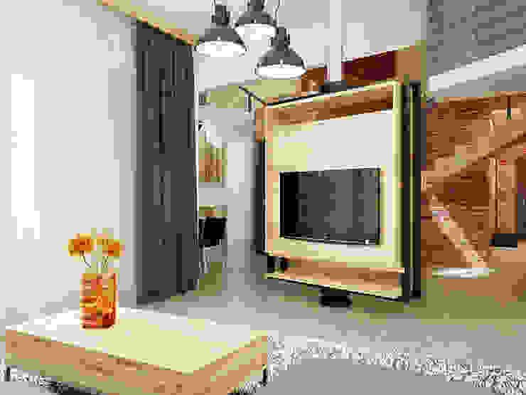 Ломанная квартира в стиле лофт Гостиная в стиле лофт от Дизайн студия Александра Скирды ВЕРСАЛЬПРОЕКТ Лофт
