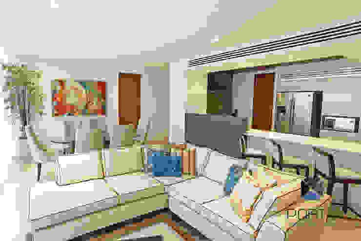 """Proyecto 'Penthouse Yucatan Country Club"""" Salones eclécticos de PORTO Arquitectura + Diseño de Interiores Ecléctico"""