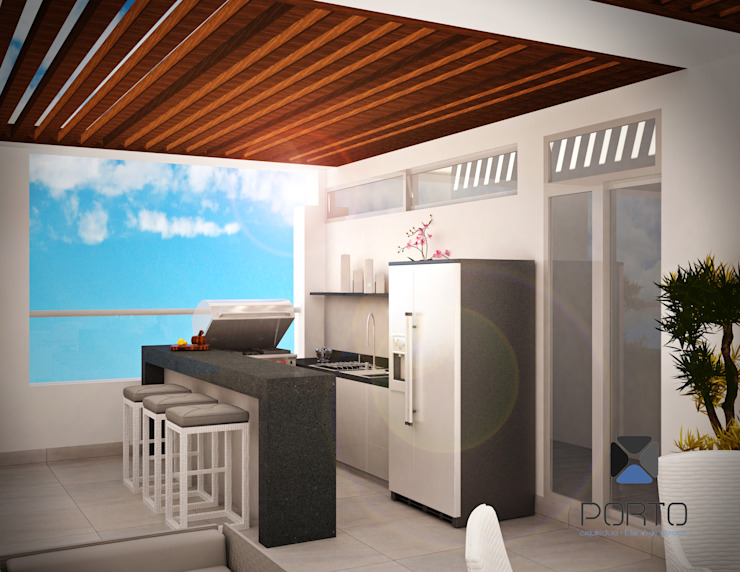 Eclectic style balcony, veranda & terrace by PORTO Arquitectura + Diseño de Interiores Eclectic