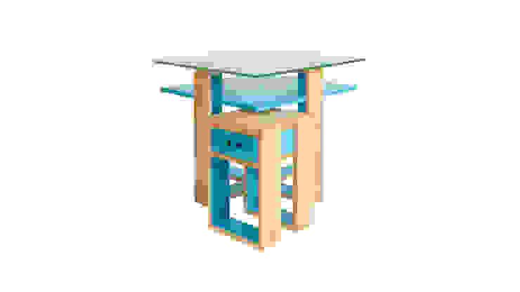 Mesa de centro Cruzeta por Farpa Minimalista Madeira maciça Multicolor