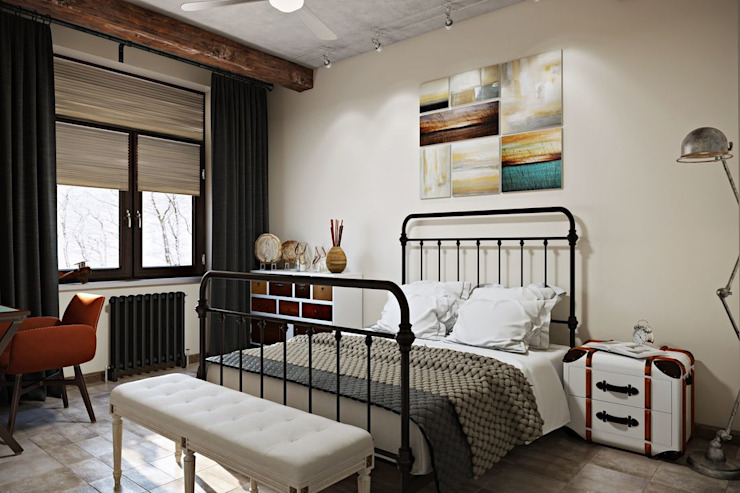 ИНДУСТРИЯ КОМФОРТА Спальня в стиле лофт от Дизайн студия Алёны Чекалиной Лофт