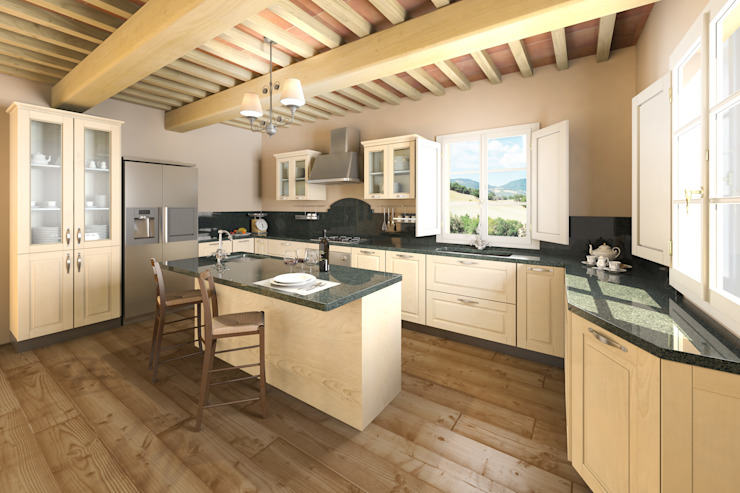 Kitchen by DiagrammaStudio, Rustic Wood Wood effect