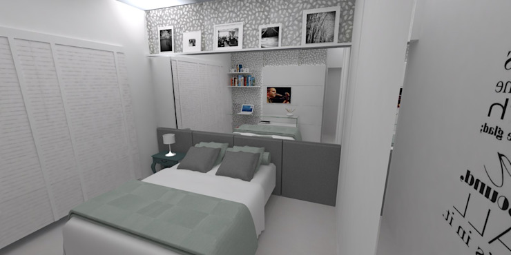 LMT Arquitetura Modern style bedroom Glass Grey