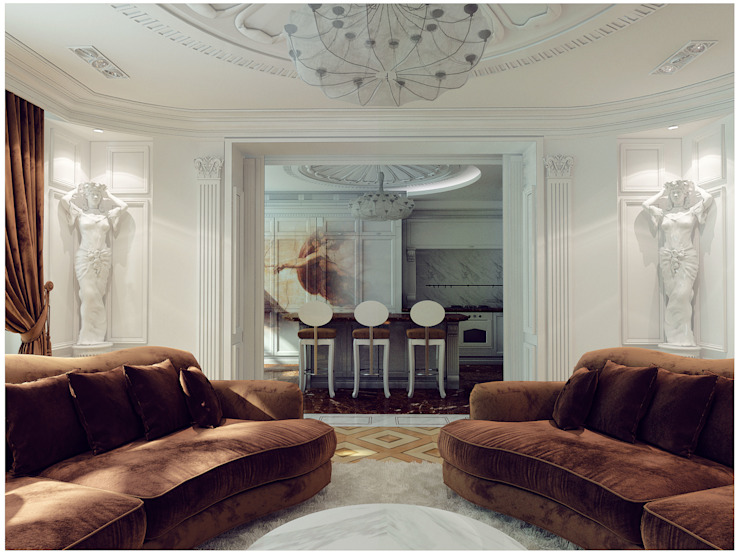 Квартира на Оболонской набережной Киева Гостиные в эклектичном стиле от 27Unit design buro Эклектичный