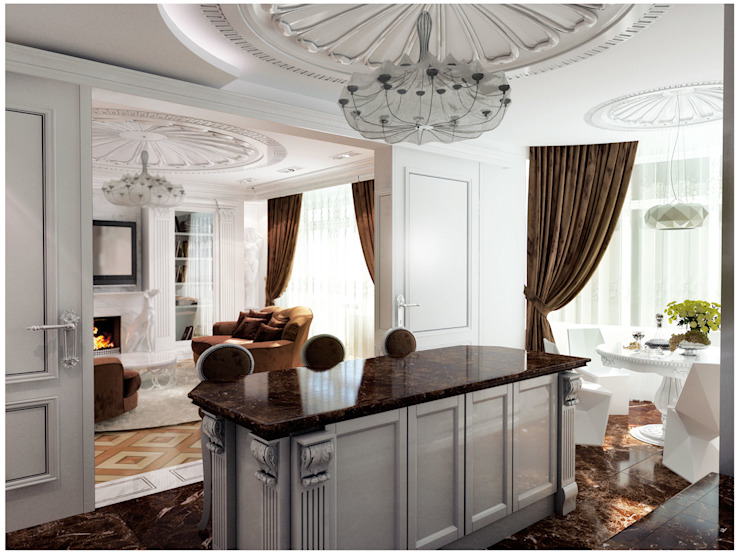 Квартира на Оболонской набережной Киева Кухни в эклектичном стиле от 27Unit design buro Эклектичный