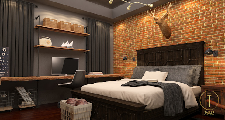 Industrial style bedroom by Taller 03 Industrial Bricks