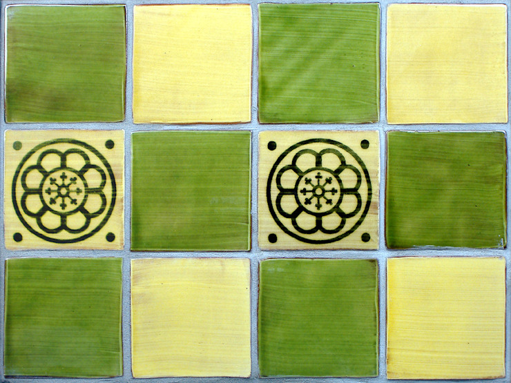 Green & Yellow Wall Tiles: rustic  by Deiniol Williams Ceramics, Rustic Ceramic