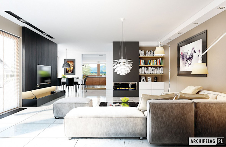 Pracownia Projektowa ARCHIPELAG Moderne woonkamers