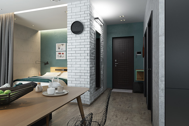 Квартира-студия для молодой пары Коридор, прихожая и лестница в скандинавском стиле от Solo Design Studio Скандинавский