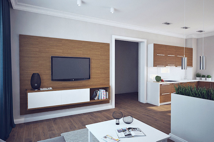 Дом в Погоранах Гостиная в стиле модерн от Студия интерьера МЕСТО Модерн
