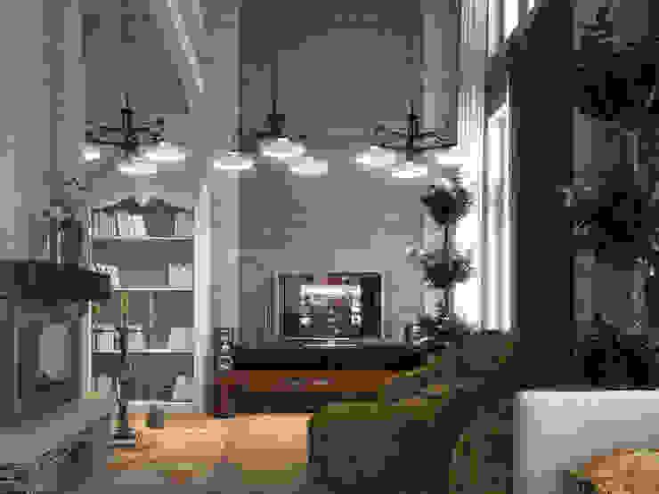 Дом из бруса 1 Гостиная в стиле кантри от Студия Архитектуры и Дизайна Алисы Бароновой Кантри