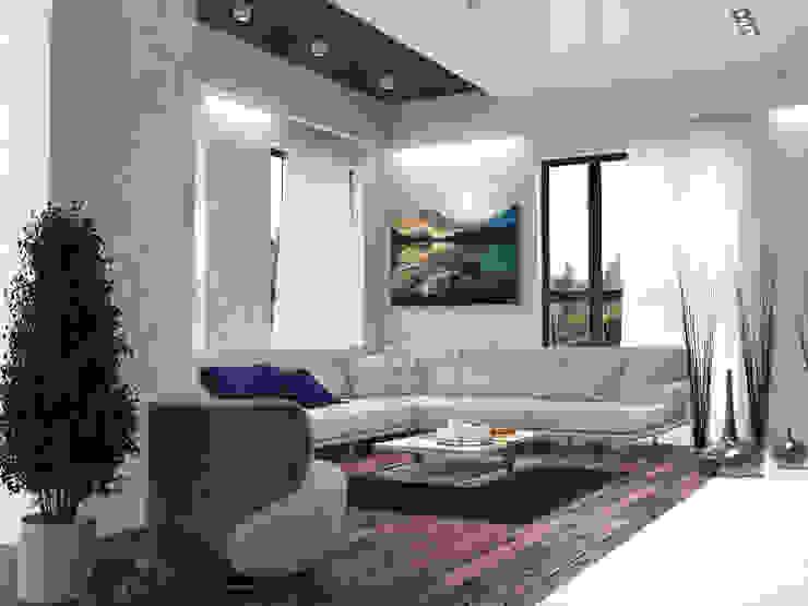 Дом из бруса 2 Гостиная в скандинавском стиле от Студия Архитектуры и Дизайна Алисы Бароновой Скандинавский