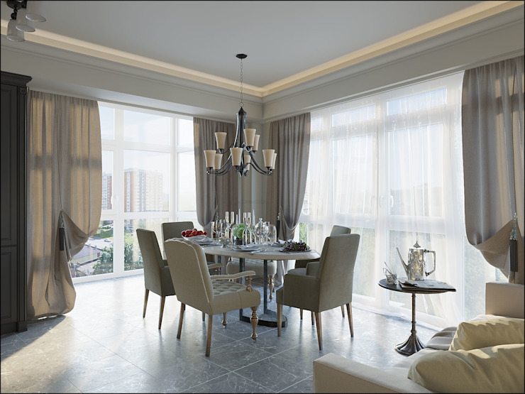 Дизайн квартиры в Дагомысе Столовая комната в классическом стиле от Студия Архитектуры и Дизайна Алисы Бароновой Классический