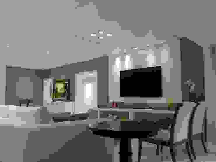 Apartamento alto padrão na orla carioca. Reforma total por Lucio Nocito Arquitetura Salas multimídia modernas por Lucio Nocito Arquitetura e Design de Interiores Moderno