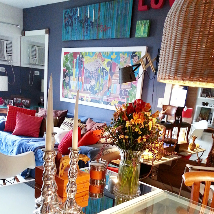 Living com muita personalidade Salas de estar ecléticas por Lucio Nocito Arquitetura e Design de Interiores Eclético