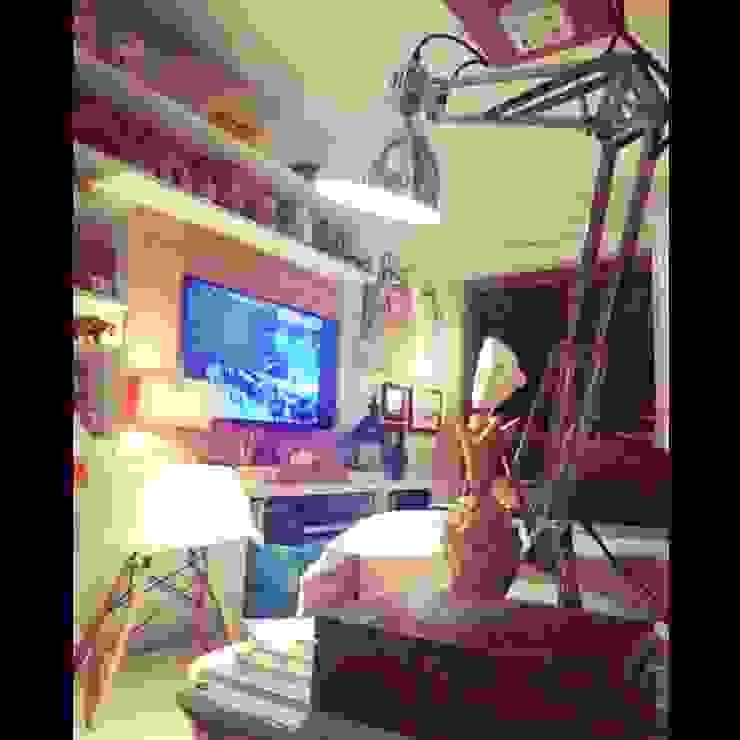 Conceito para sala de estar. Salas multimídia ecléticas por Lucio Nocito Arquitetura e Design de Interiores Eclético