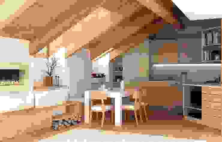 Zona giorno sottotetto Soggiorno in stile rustico di Architetto Luigia Pace Rustico Legno Effetto legno