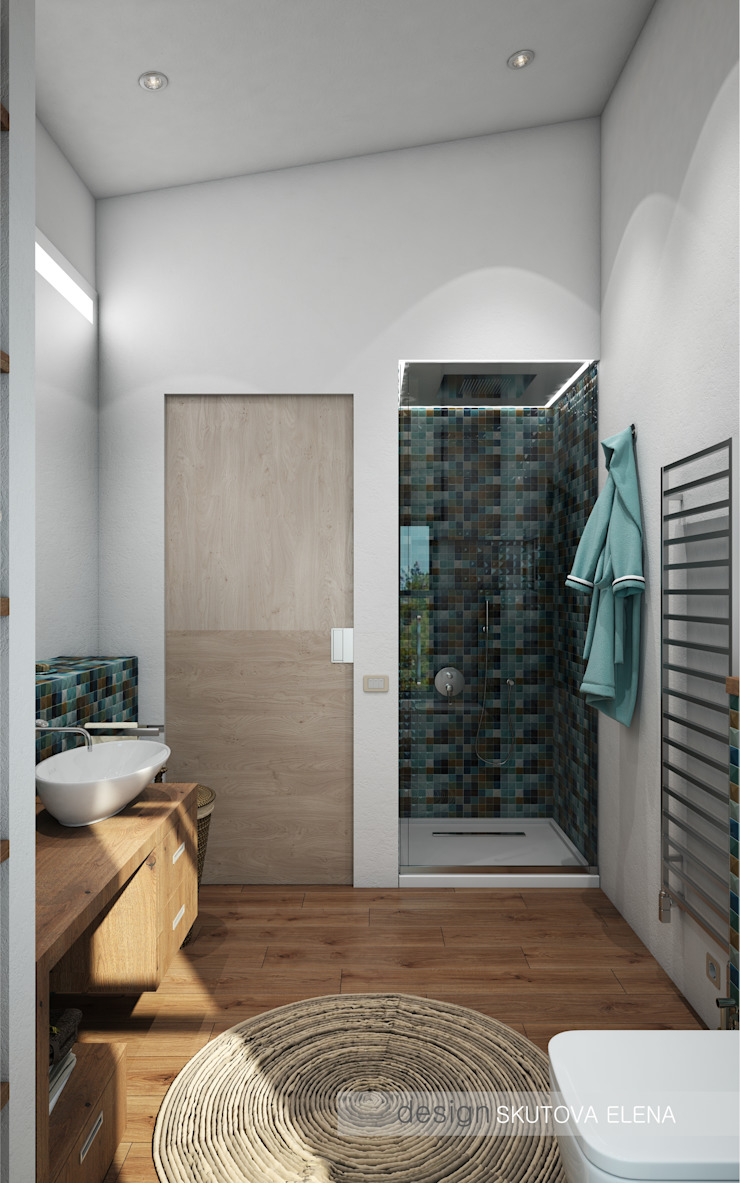 """Частный 2-х этажный дом """"Западная долина"""" Ванная комната в эклектичном стиле от ELENA SKUTOVA Эклектичный"""