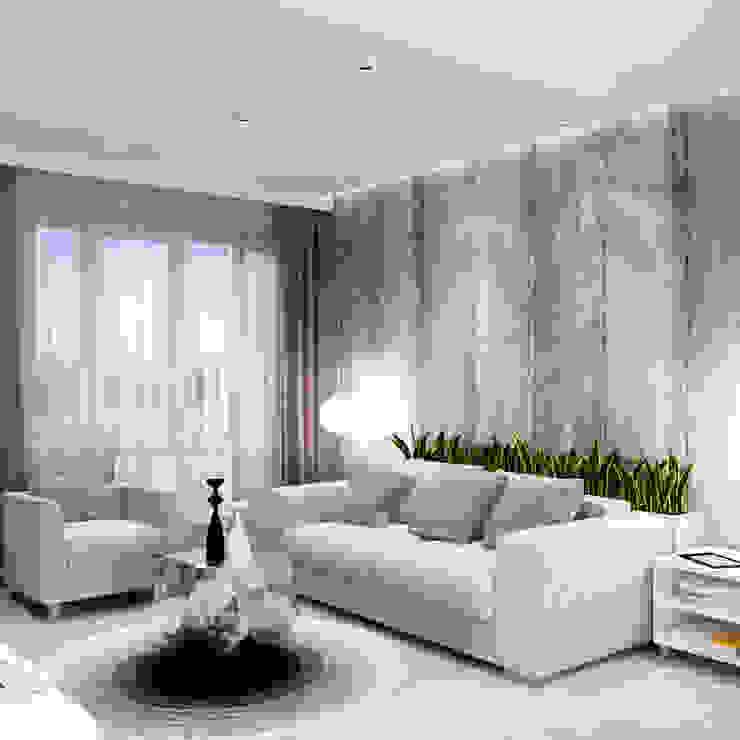 Белый лофт Гостиная в стиле лофт от QUADRUM STUDIO Лофт