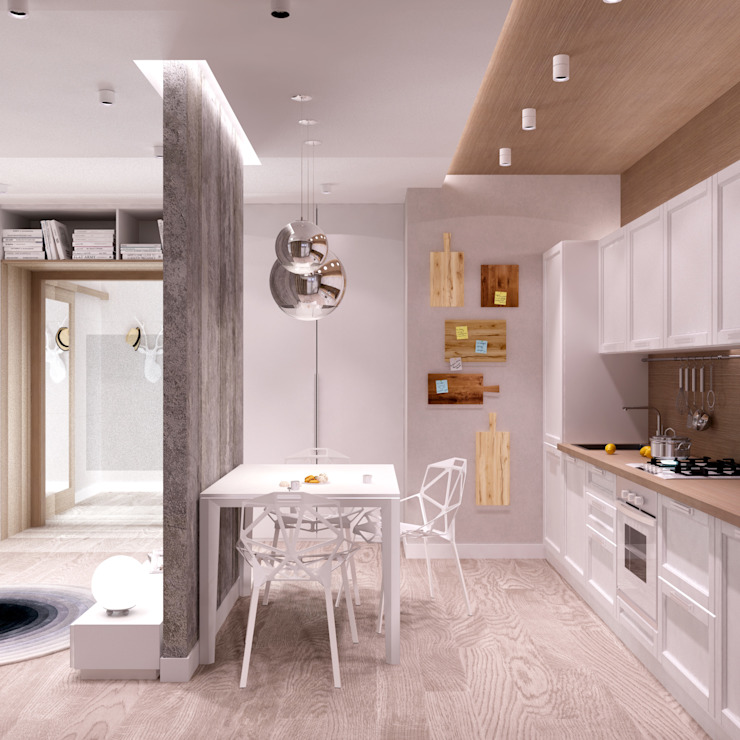 Белый лофт Кухня в стиле лофт от QUADRUM STUDIO Лофт