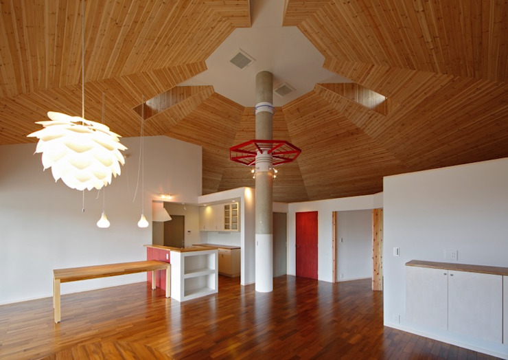 Eclectic style dining room by 株式会社エン工房 Eclectic Wood Wood effect