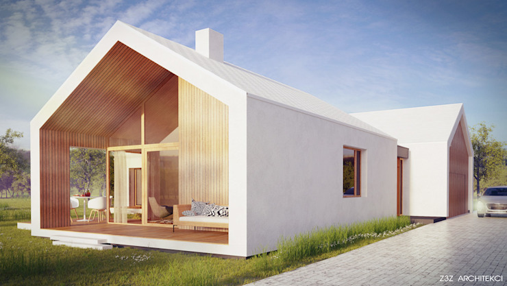 Dom Biały Minimalistyczne domy od Z3Z ARCHITEKCI Minimalistyczny Drewno O efekcie drewna
