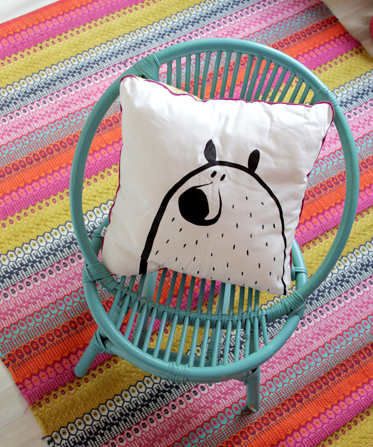 Coussin ours / loup PIOLOU Chambre d'enfantsAccessoires & décorations Coton Blanc