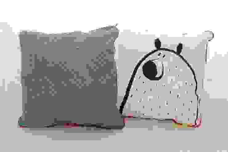 Coussin loup / ours vert PIOLOU Chambre d'enfantsAccessoires & décorations Coton Vert