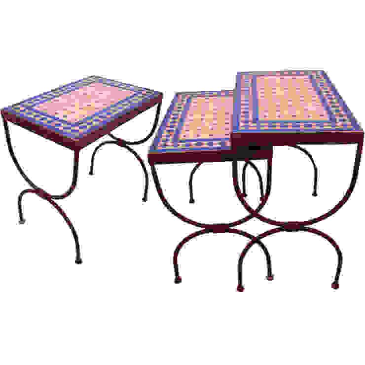 Set van 3 mozaïek tafels 'Blauwe Ruit' van Orientflair Mediterraan