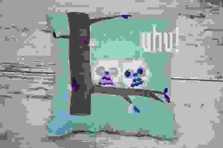 Błękitna poduszka z filcowymi sowami od uhu! Nowoczesny Bawełna Czerwony