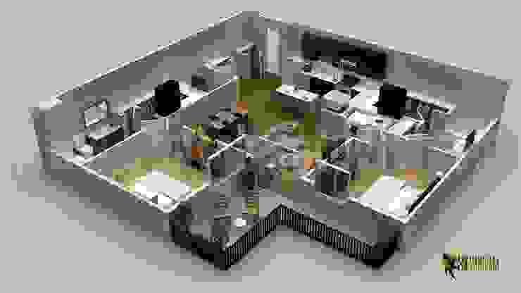 Modern Residential 3D Floor Plan by Yantram Architectural Design Studio