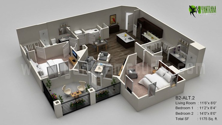 3D Floor Plan Visualization por Yantram Architectural Design Studio