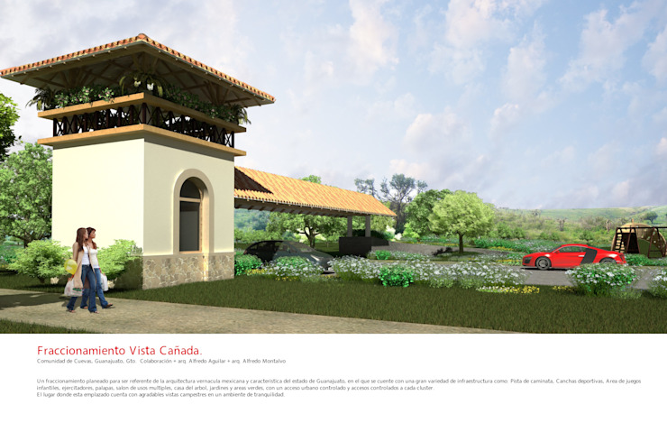 Acceso Fraccionamiento Vista Cañada. Casas rústicas de Flores Rojas Arquitectura Rústico