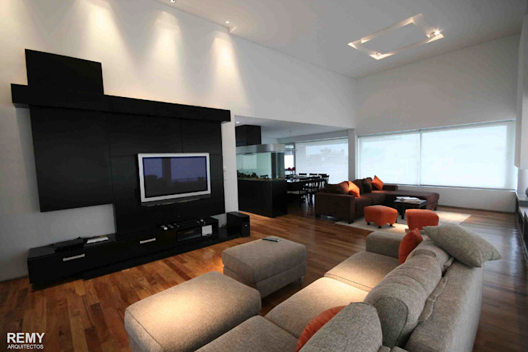 Casa de la Cascada Livings modernos: Ideas, imágenes y decoración de Remy Arquitectos Moderno