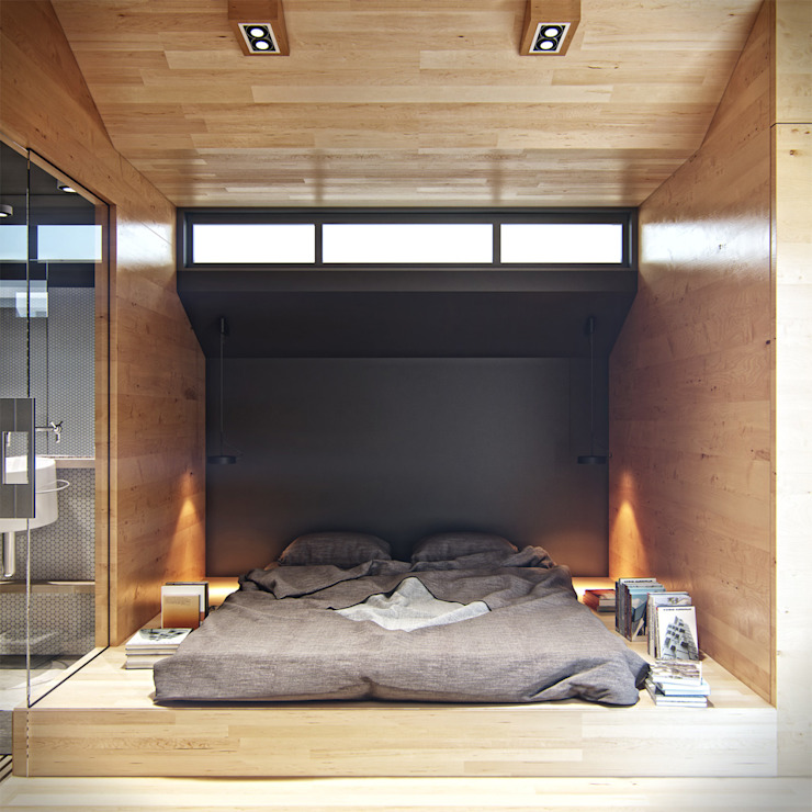 Residential house reconstruction with addition of a mansard floor Спальня в стиле минимализм от Denis Svirid Минимализм