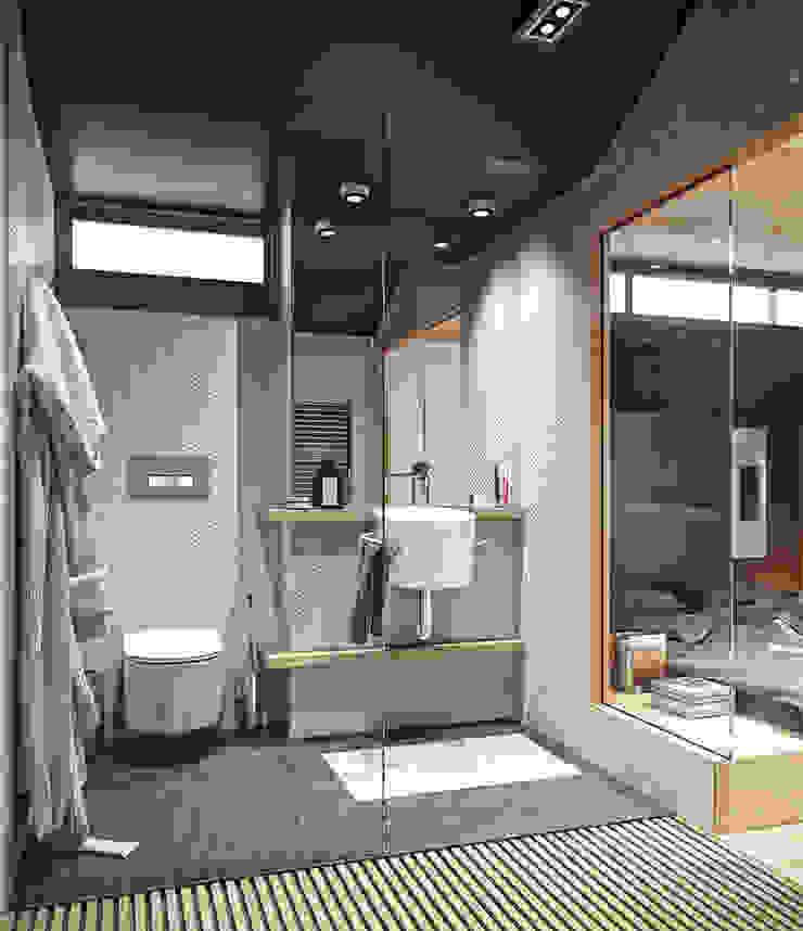 Residential house reconstruction with addition of a mansard floor Ванная комната в стиле минимализм от Denis Svirid Минимализм