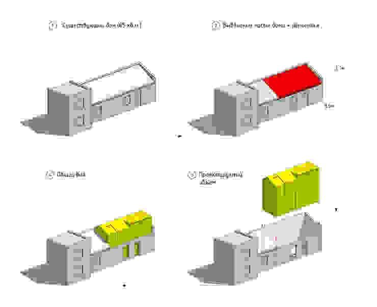 Residential house reconstruction with addition of a mansard floor Дома в стиле минимализм от Denis Svirid Минимализм