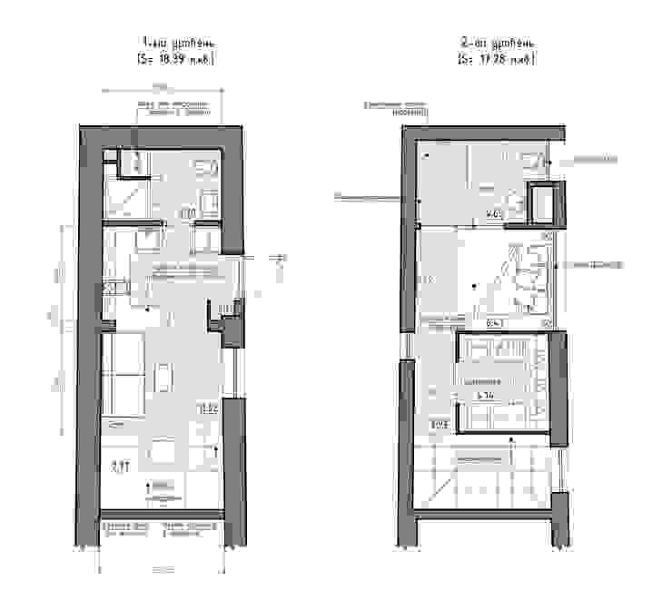 Residential house reconstruction with addition of a mansard floor Стены и пол в стиле минимализм от Denis Svirid Минимализм