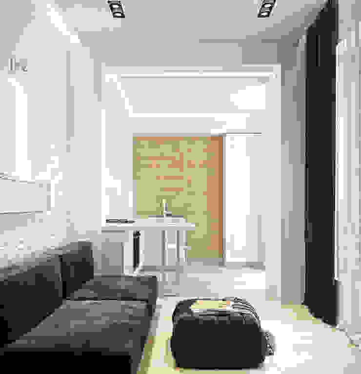 Residential house reconstruction with addition of a mansard floor Гостиная в стиле минимализм от Denis Svirid Минимализм