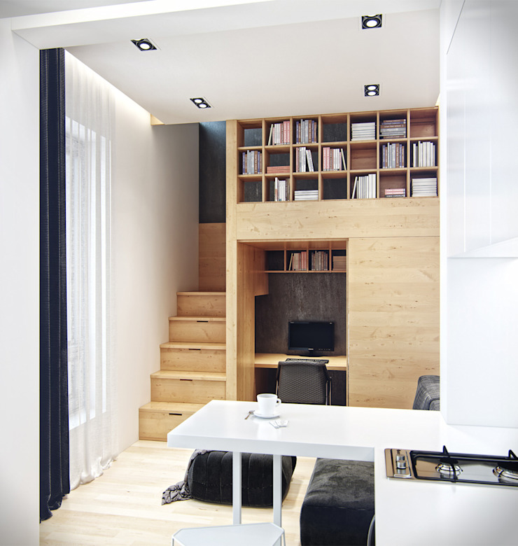 Residential house reconstruction with addition of a mansard floor Кухня в стиле минимализм от Denis Svirid Минимализм