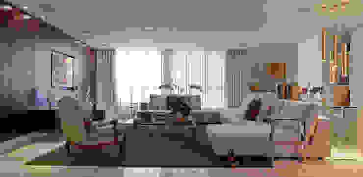 Apartamento no Bairro Belvedere em Belo Horizonte Salas de estar modernas por Rosangela C Brandão Interiores Moderno