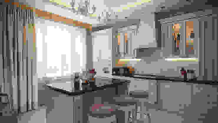 Четырехкомнатная квартира в классическом стиле Кухня в классическом стиле от Details, design studio Классический Дерево Эффект древесины