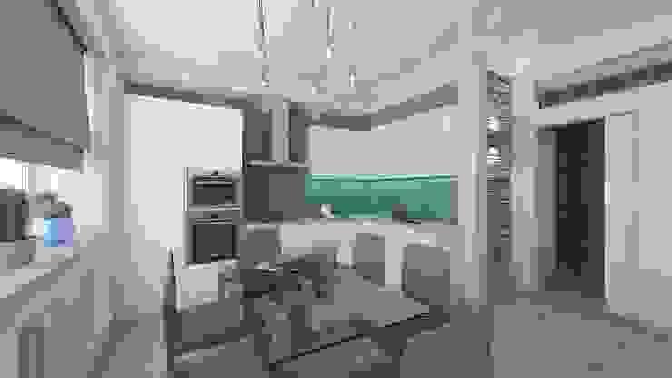 дизайн квартиры в стиле хай-тек Кухня в стиле минимализм от архитектор-дизайнер Алтоцкий Михаил (Altotskiy Mikhail) Минимализм