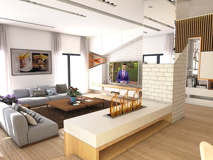 Housing Modern Oturma Odası Murat Aksel Architecture Modern Ahşap Ahşap rengi