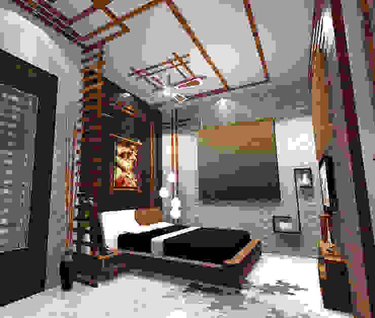 Room 1 bed view:  Bedroom by Creazione Interiors