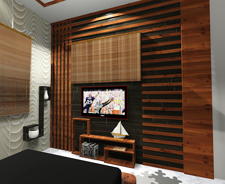 Room 1 tv close view Creazione Interiors Modern style bedroom