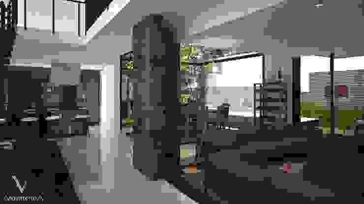 Vista de ingreso a sala y comedor de V Arquitectura