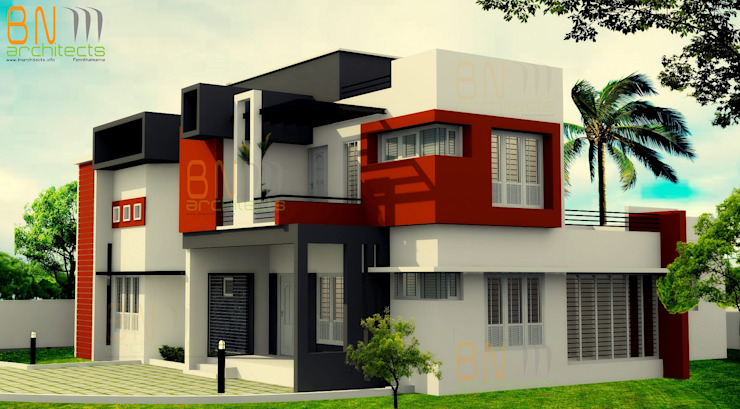 Exterior View Modern houses by BN Architects Modern Bricks