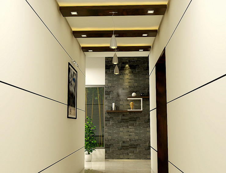 Foyer BN Architects Modern corridor, hallway & stairs